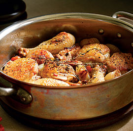 Braised Chicken Legs with White Wine, Bacon, Cipolline Onions & Mushrooms Recipe